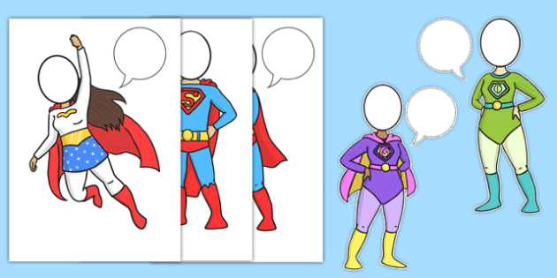 Superhero with Speech Bubble Cut-Outs
