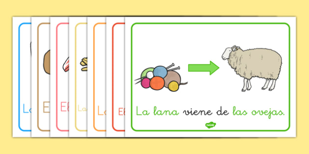 Where Does Food Come From? Display Posters Spanish - spanish, food, display, posters, where does food come from, origin of food, cooking, cow, milk, pig, bacon