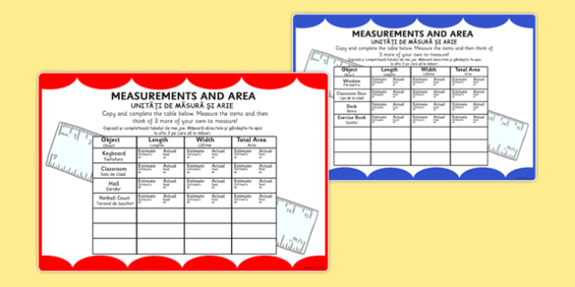 Measurements and Area Table Maths Challenge Cards Romanian Translation - romanian, eal, romania, bilingual, translated, measure, measuring, measurement, area, length, ssm, maths, ks2,