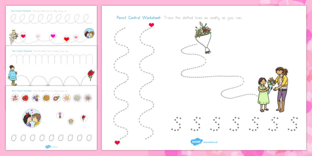 Valentine's Day Pencil Control Worksheets - australia, valentines
