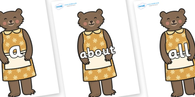 100 High Frequency Words on Mummy Bear - High frequency words, hfw, DfES Letters and Sounds, Letters and Sounds, display words