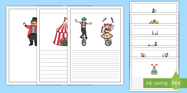 Circus Writing Frames - writing template, writing aid, the circus