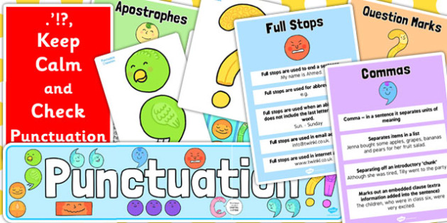 KS1 Punctuation Display Pack - ks1, punctuation, display, pack