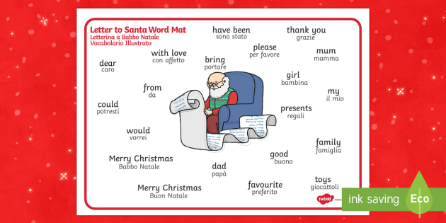 Letter to Santa Word Mat English/Italian - Letter to Santa Word Mat - letter, santa, word, mat, word mat, santas groto, letter to sanra, christ