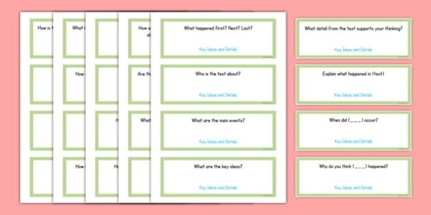 Common Core First Grade Reading Informational Text Question Stem Cards - usa, US Resources, Grade 1, RI, Common Core, Question Stems, Question Starters