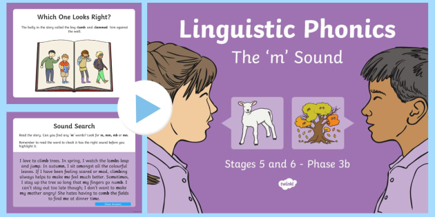 Northern Ireland Linguistic Phonics Stage 5 and 6 Phase 3b, 'm' Sound PowerPoint - Linguistic Phonics, Phase 3b, Northern Ireland, 'm' sound, sound search, word sort, investigatio