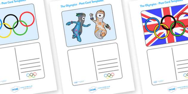 The Olympics Postcard Templates -  postcard, template, Olympics, Olympic Games, sports, Olympic, London, 2012, card, cards, creative, activity, Olympic torch, medal, Olympic Rings, mascots, flame, compete, events, tennis, athlete, swimming