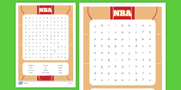 Basketball Word Search - usa, basketball, nba, national basketball association, word search