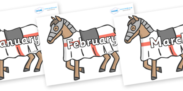 Months of the Year on Horses - Months of the Year, Months poster, Months display, display, poster, frieze, Months, month, January, February, March, April, May, June, July, August, September