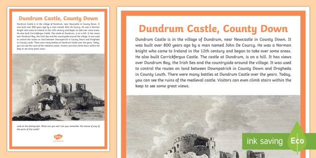 Dundrum Castle A4 Display Poster - castle, history, Norman, John De Courcy, County Down, Northern Ireland, medieval, knights, Dundrum c