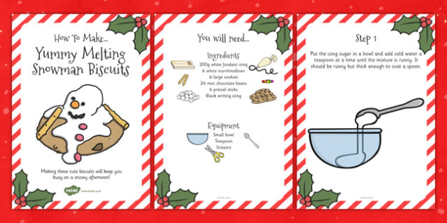 Yummy Melting Snowman Biscuits Recipe Cards - Food, Cooking