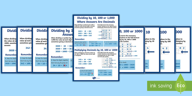 Multiplying and Dividing by 10, 100 and 1000 (Including Decimals) Display Posters -  Multiplying and Dividing by 10, 100 and 1000, Decimals,  Display, Posters