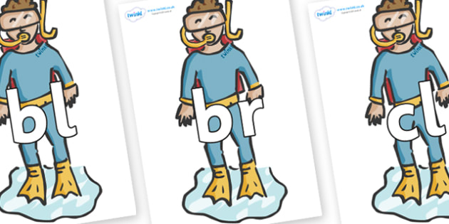 Initial Letter Blends on Divers - Initial Letters, initial letter, letter blend, letter blends, consonant, consonants, digraph, trigraph, literacy, alphabet, letters, foundation stage literacy