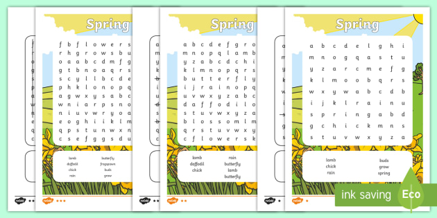 Spring Wordsearch - spring, seasons, weather, wordsearch, words