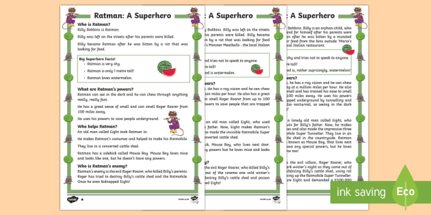 Ratman: A Superhero Differentiated Fact File - Superheroes, Ratman, hero, save, villain, powers, sidekick, reading, facts, information, non-fiction