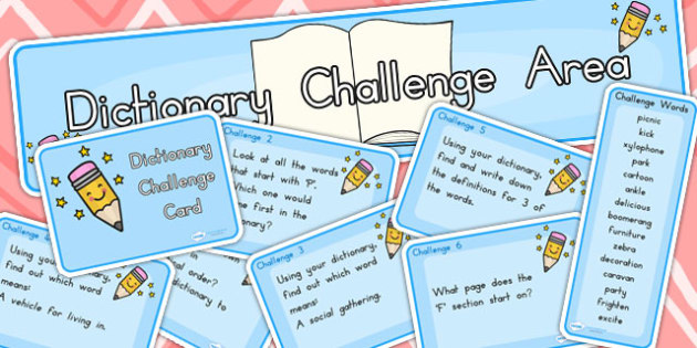 Dictionary Challenge Area Pack Stick and Ball - dictionary, areas
