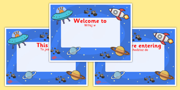 Space Themed Class Welcome Signs Polish Translation - polish, space, welcome
