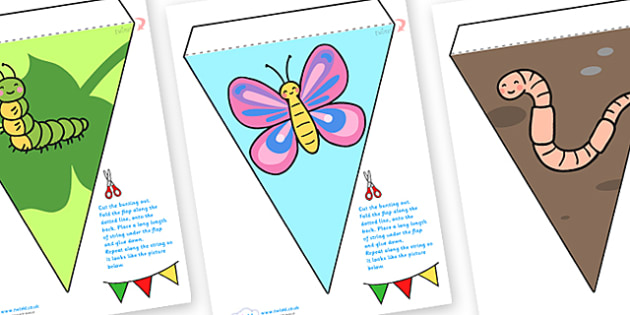 Minibeast Bunting - minibeasts, minibeast display bunting, insects display bunting, insects bunting, minibeast display, minibeast resources, bunting, EYFS