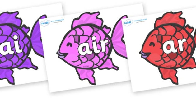 Phase 3 Phonemes on Fish to Support Teaching on The Rainbow Fish - Phonemes, phoneme, Phase 3, Phase three, Foundation, Literacy, Letters and Sounds, DfES, display