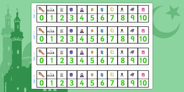 Eid Number Tracks 1 10-eid, number, eid numbers, number tracks, 0-10, maths, islam, islam number line, counting, counting aid, religion
