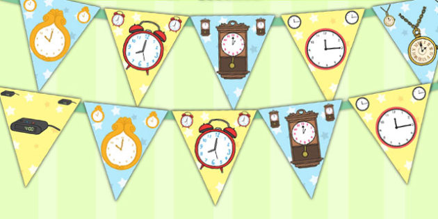 Clock Display Bunting - clock, display, bunting, display bunting