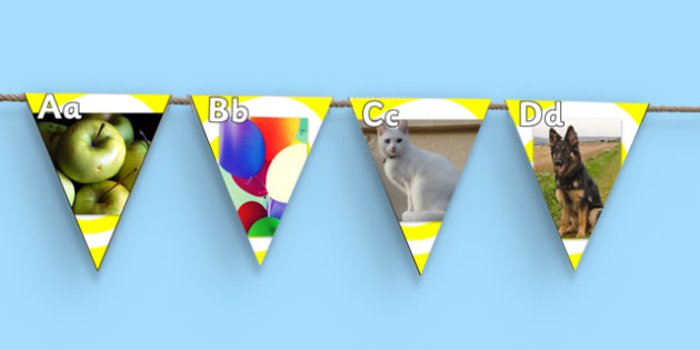 Photo Alphabet on Bunting - alphabet, a-z, bunting, display