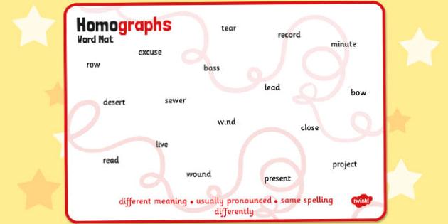 Homographs Word Mat - homographs, word mat, word, mat, words