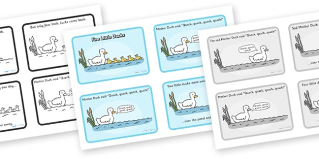 Five Little Ducks Sequencing (4 per A4) - Five Little Ducks, nursery rhyme, rhyme,sequencing,  rhyming, nursery rhyme story, nursery rhymes, counting rhymes, taking away, subtraction, Five Little Ducks resources, counting backwards, one less than