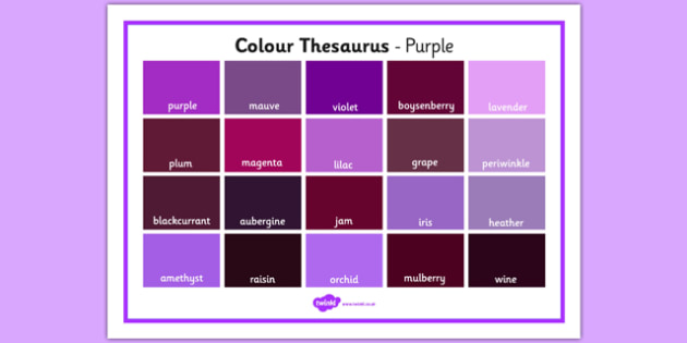 Colour Thesaurus Word Mat Purple - colour thesaurus, colour, thesaurus, word mat, word, mat, purple