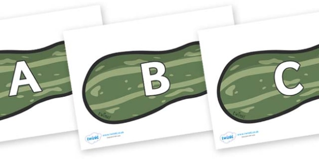 A-Z Alphabet on Marrows - A-Z, A4, display, Alphabet frieze, Display letters, Letter posters, A-Z letters, Alphabet flashcards