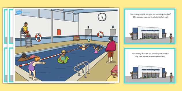 Swimming Pool Scene and Question Cards Romanian Translation - romanian, question, cards, scene