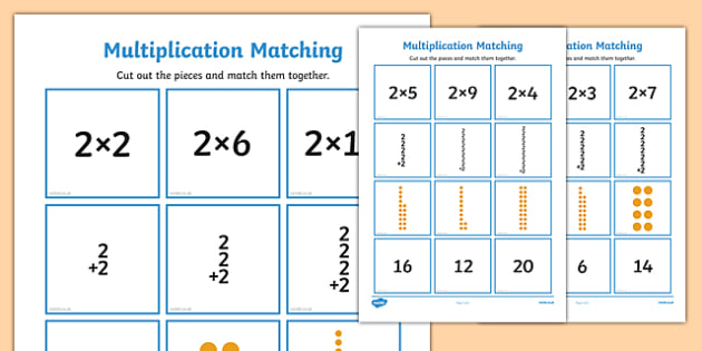 2 Times Table Multiplication Matching Puzzle - times table, multiplication, matching, puzzle, activity, 2
