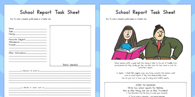 School Report Task Sheet and Differentiated Worksheets to Support Teaching on Matilda - australia