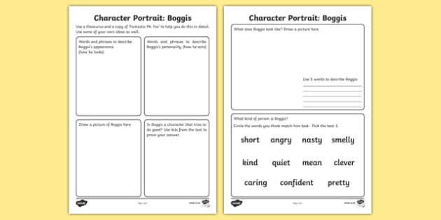 Character Profile Boggis Activity Sheet to Support Teaching on Fantastic Mr Fox - fantastic mr fox, character profile, character, profile, activity, boggis