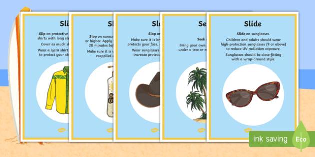 Slip, slop, slap, seek, slide Display Posters - Surf Life Saving Australia, sun, sun safe, sun safety, safety, beach, life guard, life saver,Austral