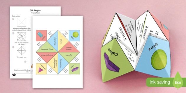 KS2 3D Shapes Fortune Teller