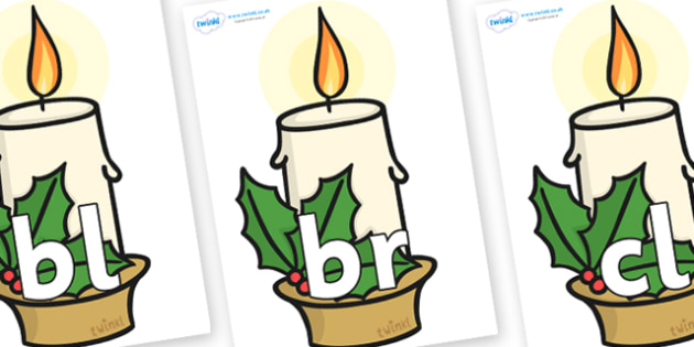 Initial Letter Blends on Christmas Candle - Initial Letters, initial letter, letter blend, letter blends, consonant, consonants, digraph, trigraph, literacy, alphabet, letters, foundation stage literacy