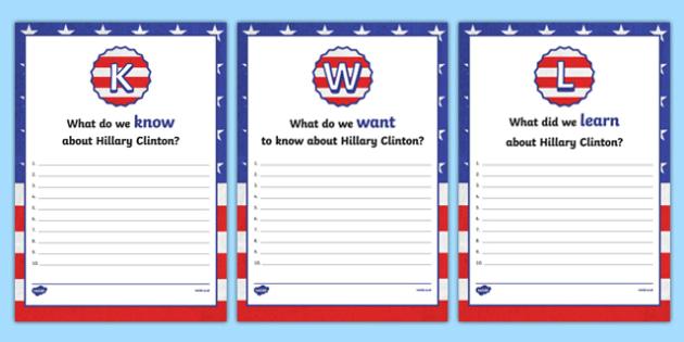 Hillary Clinton KWL Activity Sheets, worksheet