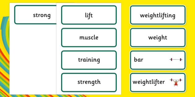 The Olympics Weightlifting Word Cards - weightlifting, lifting, weights, Olympics, Olympic Games, sports, word card, flashcards, cards, Olympic, London, 2012, activity, Olympic torch, medal, Olympic Rings, mascots, flame, compete, events, tennis, ath