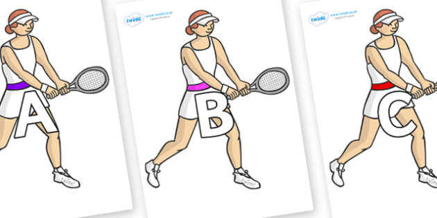 A-Z Alphabet on Tennis Players - A-Z, A4, display, Alphabet frieze, Display letters, Letter posters, A-Z letters, Alphabet flashcards