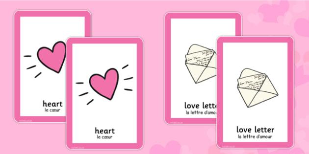 Valentine's Day Pairs Matching Game French Translation - french, valentines, day, pairs