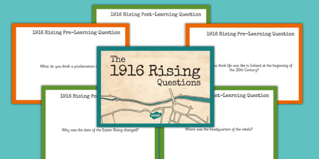 1916 Rising Question Cards - Easter 1916 Rising, irish history, task cards, question check cards