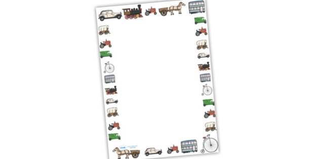 Old Transport Page Borders (Images) - Transport, page border, a4 border, template, writing aid, writing border, page template, car, van, lorry, bike, motorbike, plane, aeroplane, tractor, truck, bus