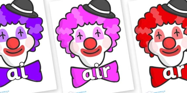 Phase 3 Phonemes on Clown Faces - Phonemes, phoneme, Phase 3, Phase three, Foundation, Literacy, Letters and Sounds, DfES, display