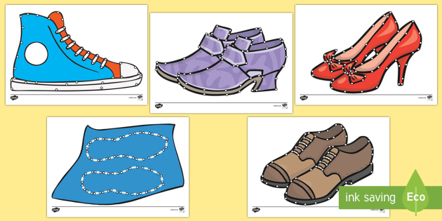 Shoe Themed Fine Motor Skills Threading Cards - The Elves and the Shoemaker, traditional tales, shoes, threading, fine motor