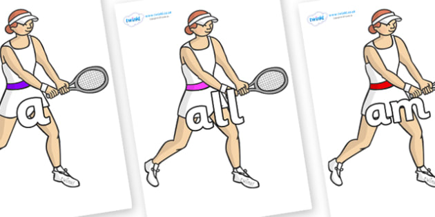 Foundation Stage 2 Keywords on Tennis Players - FS2, CLL, keywords, Communication language and literacy,  Display, Key words, high frequency words, foundation stage literacy, DfES Letters and Sounds, Letters and Sounds, spelling