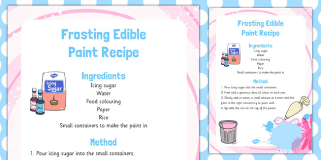 Frosting Edible Paint Recipe - frosting, edible, paint, recipe, eyfs