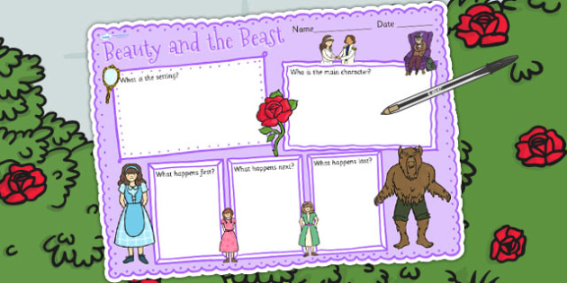 Beauty and the Beast Book Review Writing Frame - writing template