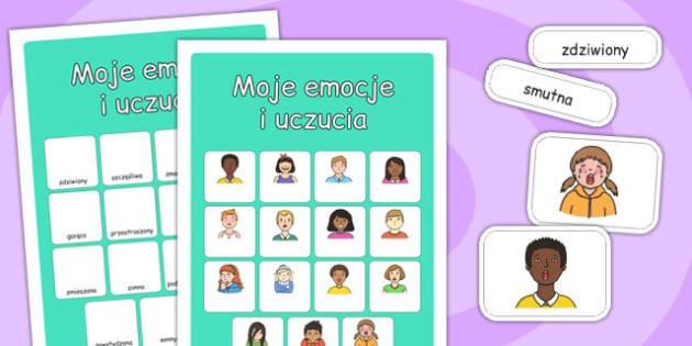 Ćwiczenie na dopasowanie elementów Moje uczucia po polsku - dzieci , Polish