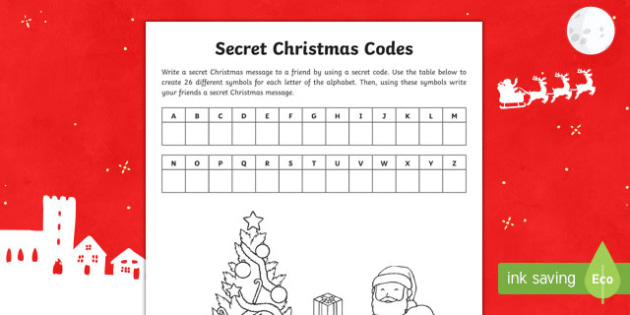 Secret Christmas Codes Activity Sheet-Australia